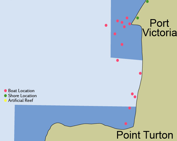 Greg James' Fishing Pathfinder - GPS Marks for SE Spencer Gulf
